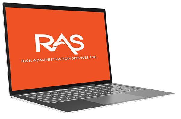 A laptop with the RAS logo on screen
